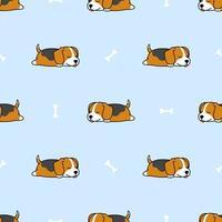 Cachorro beagle fofo dormindo com padrão sem emenda de osso dos desenhos animados
