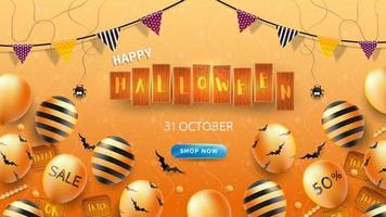Feliz dia das bruxas Banner ou fundo com texto de Halloween em tábuas de madeira