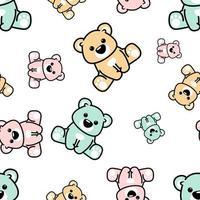 Ursos coloridos fofos sentado sem costura padrão