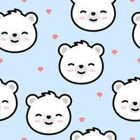 Fofo urso polar rosto dos desenhos animados sem costura padrão vetor