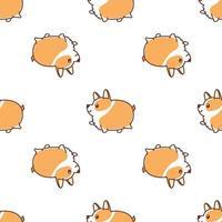 Cão gordo corgi andando sem costura padrão dos desenhos animados