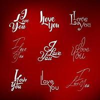 Eu te amo coleção de letras vetor