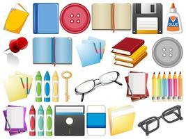 Conjunto de objetos de suprimentos estacionários vetor