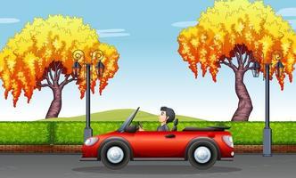 Homem dirigindo carro conversível no parque vetor