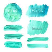 Conjunto de crachá de aquarela Pastel azul-petróleo vetor
