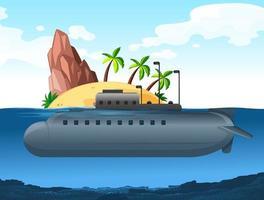Submarino sob uma ilha vetor