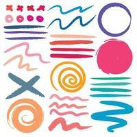 Conjunto de vários traçados de pincel colorido vetor