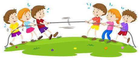 Crianças brincando de cabo de guerra no parque vetor