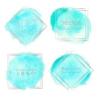 Conjunto de quadro pastel aquarela azul vetor