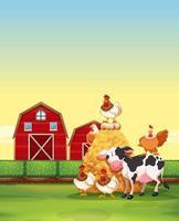 Animais da fazenda que vivem na fazenda vetor