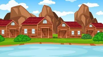 Uma cena de vila rural na água