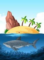 Tubarão nadando no fundo do oceano vetor