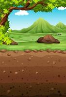 Cena da natureza com campo e subterrâneo vetor