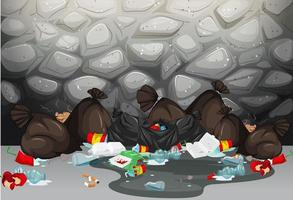 Pilha de sacos de lixo no chão em frente a parede vetor