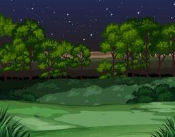 Cena da natureza das árvores e campo à noite vetor