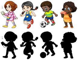 Conjunto de quatro crianças ativas personagens e silhuetas