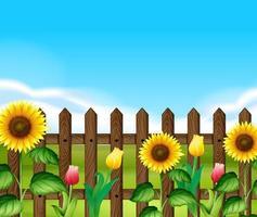 Cerca de madeira com flores no jardim vetor