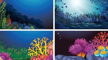 Conjunto de paisagens subaquáticas vetor