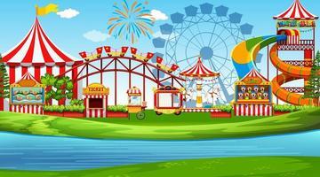 Uma cena de parque de diversões vetor