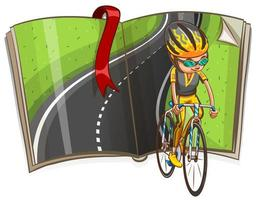 Ciclismo do homem e estrada vazia em uma ilustração do livro vetor