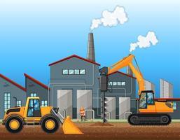 Dois veículos de construção na cena da fábrica vetor