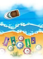 Cena aérea com pessoas tomando banho de sol na praia vetor