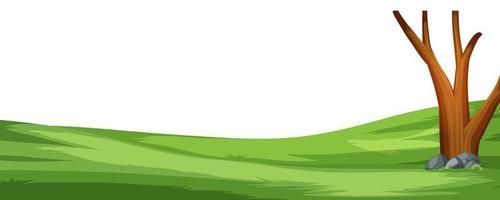 Um campo simples de desenho animado e uma cena de árvore vetor