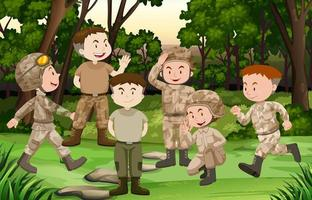 Grupo de soldados na floresta vetor