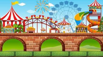 Uma cena da feira do parque de diversões