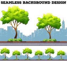Árvore ao longo da calçada com fundo de edifícios da cidade vetor