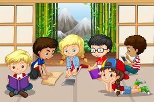Grupo de crianças lendo no quarto vetor