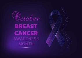 Banner de campanha do mês de conscientização do câncer de mama com fita brilhante vetor