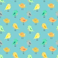 Pássaros bonitos com azul sem costura de fundo vetor