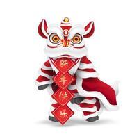 Dança do leão do ano novo chinês com símbolo de saudação em chinês