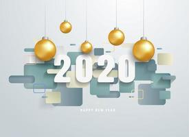 Feliz 2020 ano novo com formas geométricas