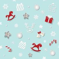 Padrão sem emenda de Natal com estrelas de brilho e elementos decorativos
