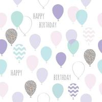 Bonito aniversário sem costura, padrão de chuveiro de bebê com balões