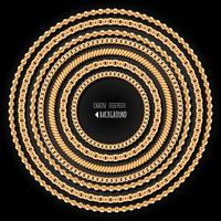 Correntes de ouro redondo modelo de quadro em fundo preto vetor