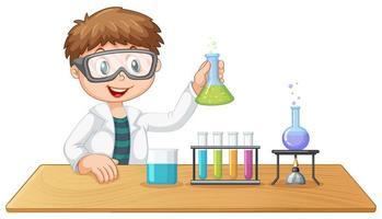 Um garoto na aula de química vetor