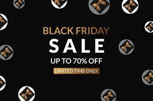 Cartaz de sexta-feira venda banner preto sobre fundo preto