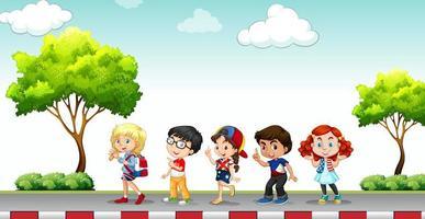 Crianças em pé na calçada vetor