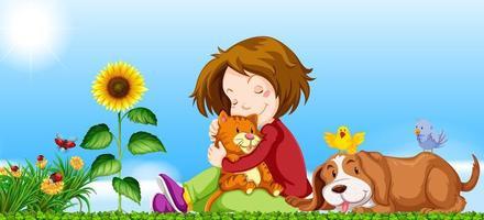 Menina e animais de estimação no jardim vetor