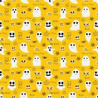 Fantasmas e duendes Halloween sem costura padrão de fundo amarelo