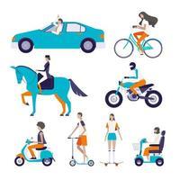 Conjunto de pessoas e veículos
