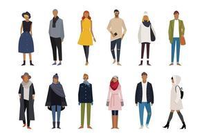 Conjunto de caracteres de moda outono inverno vetor