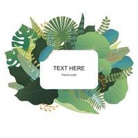 Design de cartão com folhas tropicais padrão.