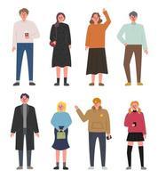 Conjunto de caracteres de pessoas em vários estilos de moda