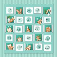 Contagem regressiva para o calendário de gengibre de Natal vetor