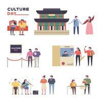 Conjunto de casais desfrutando de várias culturas na Coréia.