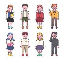 Conjunto de caracteres de uniforme escolar